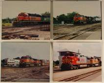 4 Vintage BNSF Railroad Train Color PHOTOGRAPHS Engines