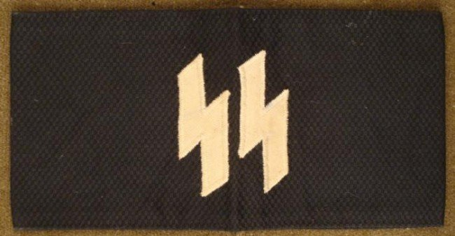 1941 SS NAZI BRASSARD0BLACK W/EMBROIDERED RUNES-RZM TAG