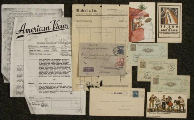 1943 FBI REPORT & ITEMS from NAZI SPY TRIED IN S.F.