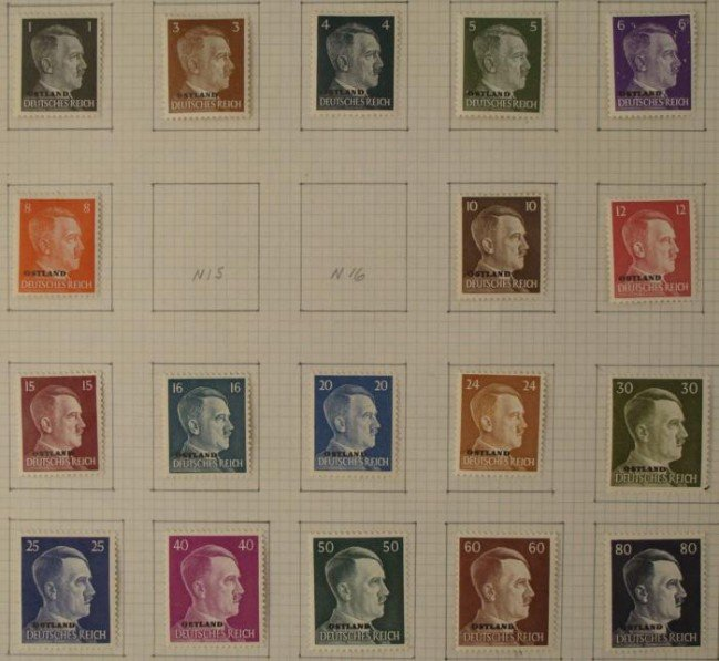 RARE COLLECTION OF WWII NAZI HITLER STAMPS-FROM OSTLAND