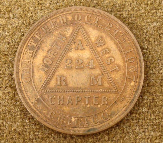 MASONIC  ONE PENNY  COIN-NW CHICAGO CHAPTER- 1900S
