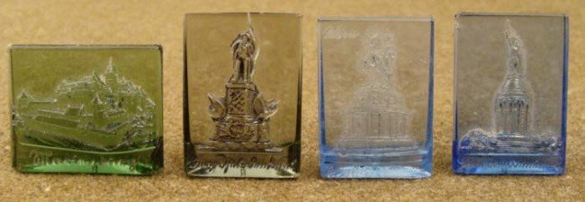 4 WWII COLORED GLASS PANELS WITH RAISED NAZI MONUMENTS
