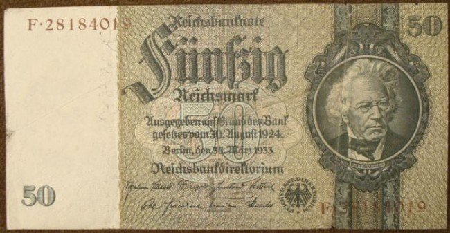 1933 (HITLERS ELECTION YEAR) 50 MARK NOTE- REICHSMARK
