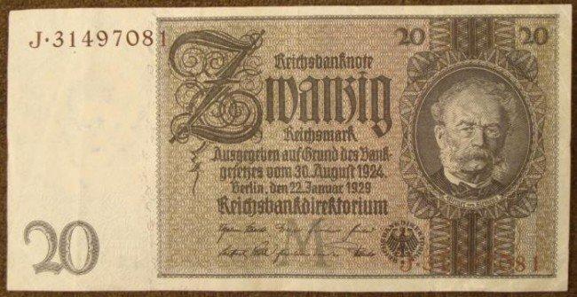 1929 PRE-NAZI 20 RM NOTE