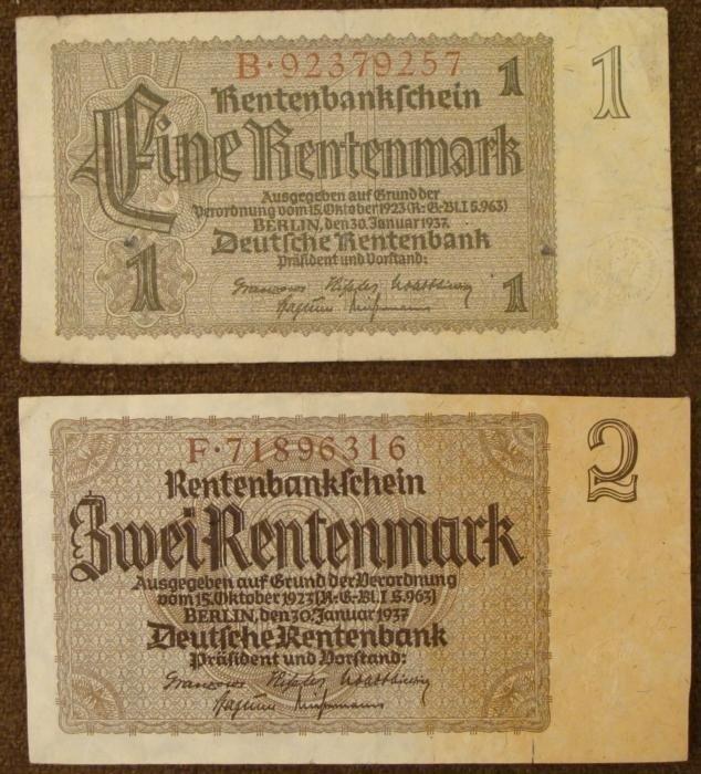 NAZI ERA 1937 2 RENTENMARK (SECURITY DEPOSIT) 1RM NOTES