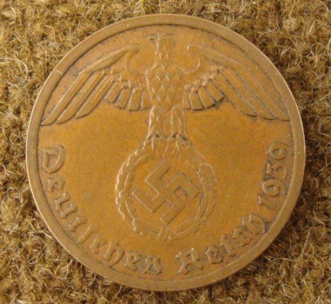 NAZI REICHSPFENNING (1RP) WITH EAGLE & SWASTIKA