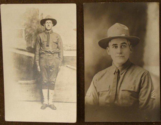 2 ORIGINAL DOUGHBOY REAL PHOTO POSTCARDS RPP 1917