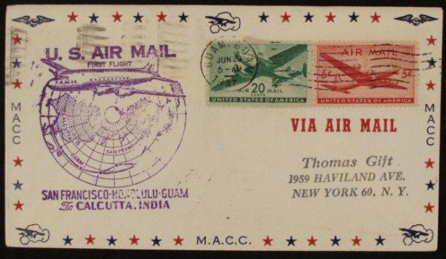 First Flight Air Mail Cover San Francisco- India 1947