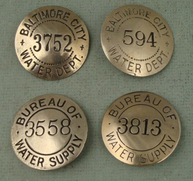 4 Baltimore City Water Supply Workers Badges Pins