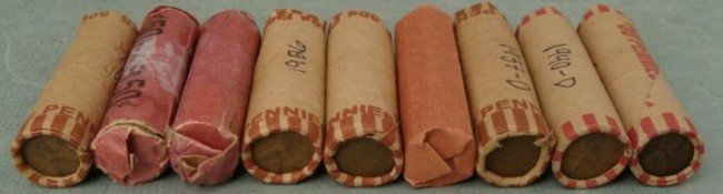 9 Rolls Early Circulated Lincoln Wheat Cents 1918-40