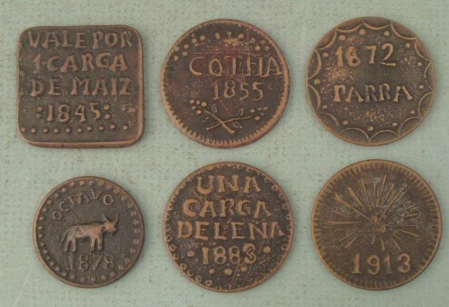 Set 6 Early Mexico Copper UNC Tokens Lot 1845-1913