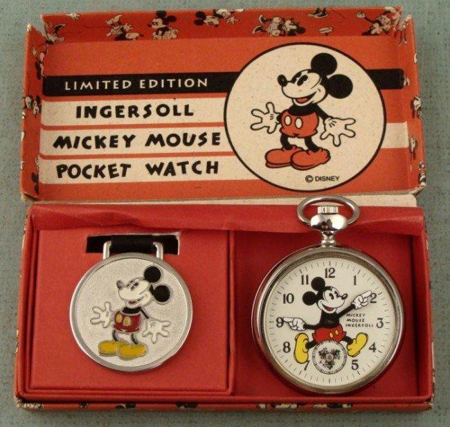 Ingersoll Mickey Mouse Pocket Watch Ltd Ed w/Fob In Box