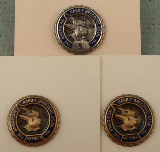 3 Rabbit Breeders Assn. Pins Vintage