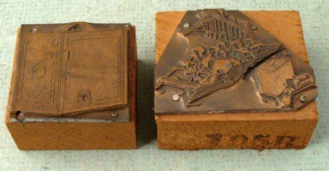 2 Kodak Brownie Box Camera Old Ad Copper Printer Blocks