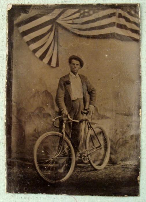 Antique Tin Type Photo Man, Bicycle Bike, American Flag