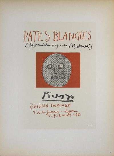 1959 Picasso Pates Blanches II Mourlot Lithograph