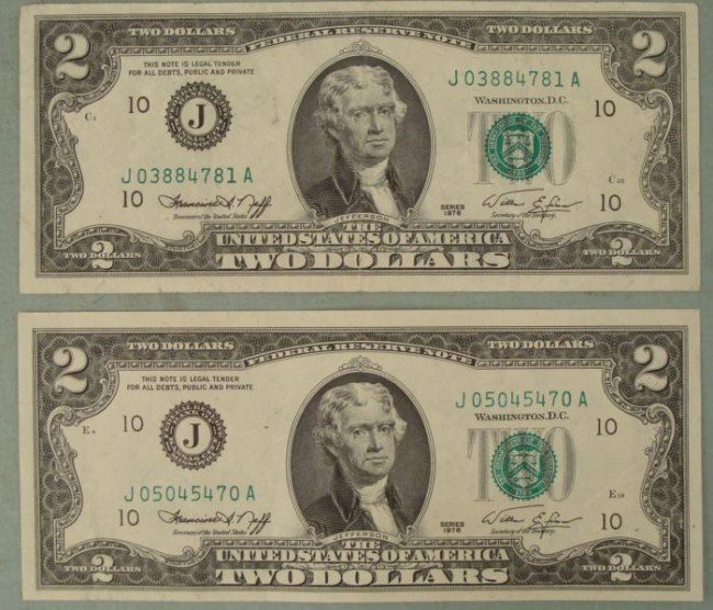 2 1976 Two Dollar Notes J Mint Kansas City -Nice Bills