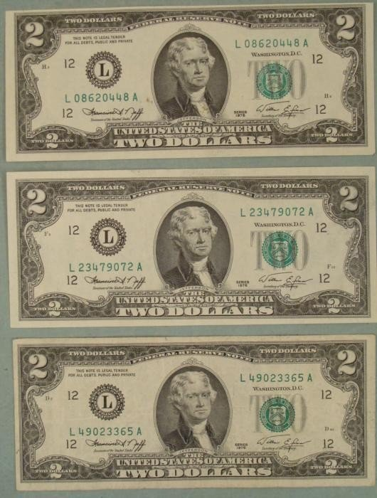 3 1976 Two Dollar Bills L Mint San Francisco Notes