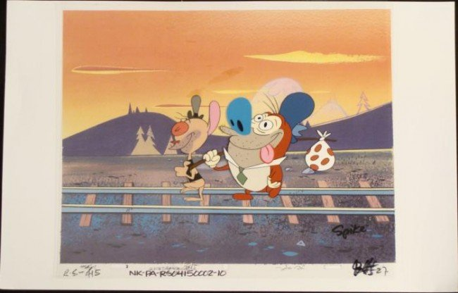 Ren And Stimpy Hobos Original Animation Cel Background