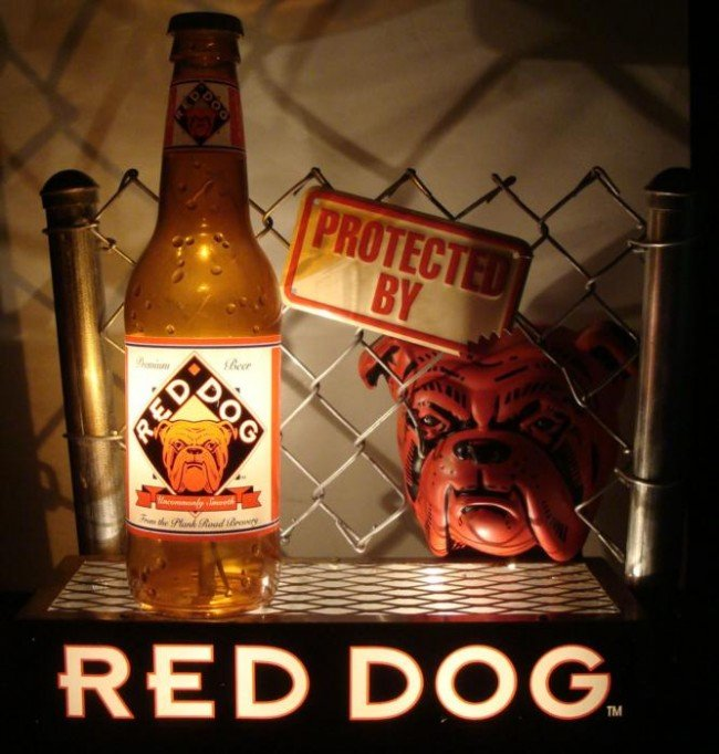 HUGE  RED DOG BEER  BAR TOP ADVERTISING SIGN