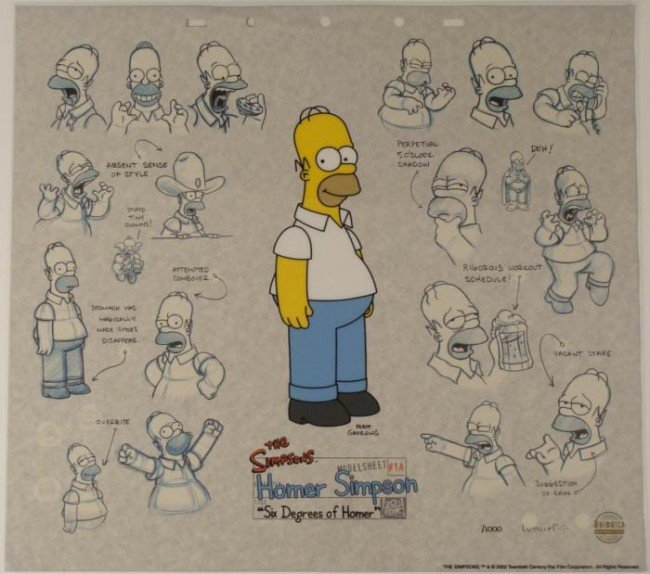 Homer Simpson Art Animation Sericel w/ Background