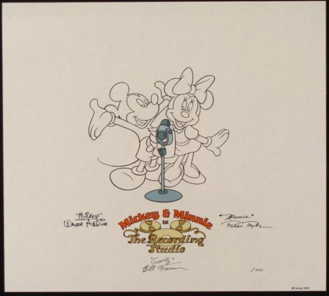 Disney Mickey Minnie Voice Signed Sericel Animation Art