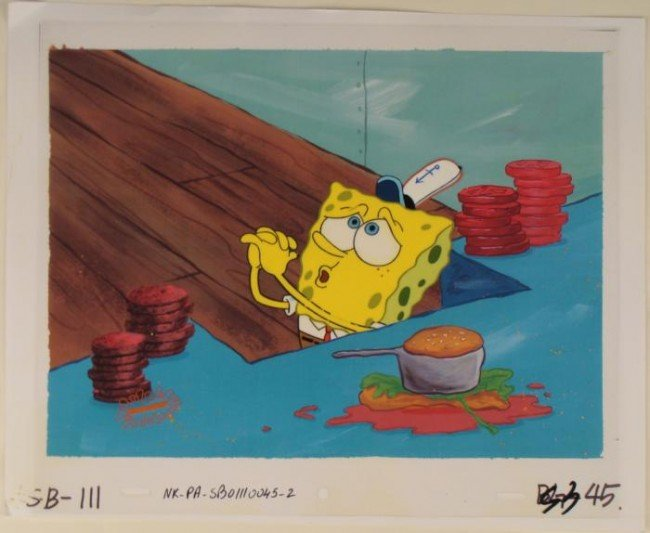 Background Spongebob Original Animation Pleading Cel
