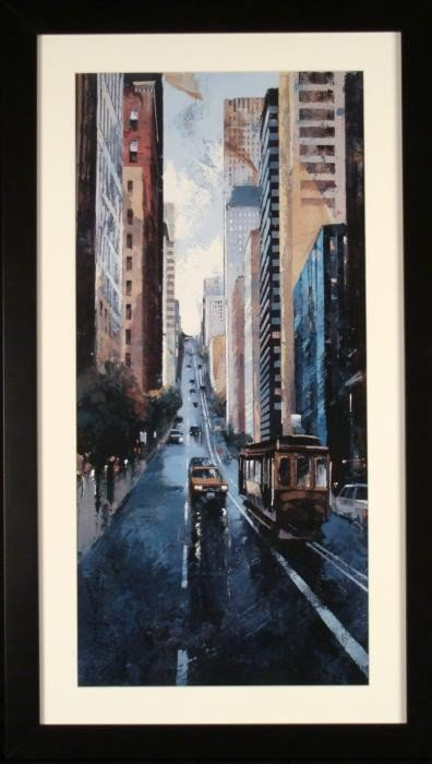 San Francisco Street Scene Trolley Car Art Print Framed
