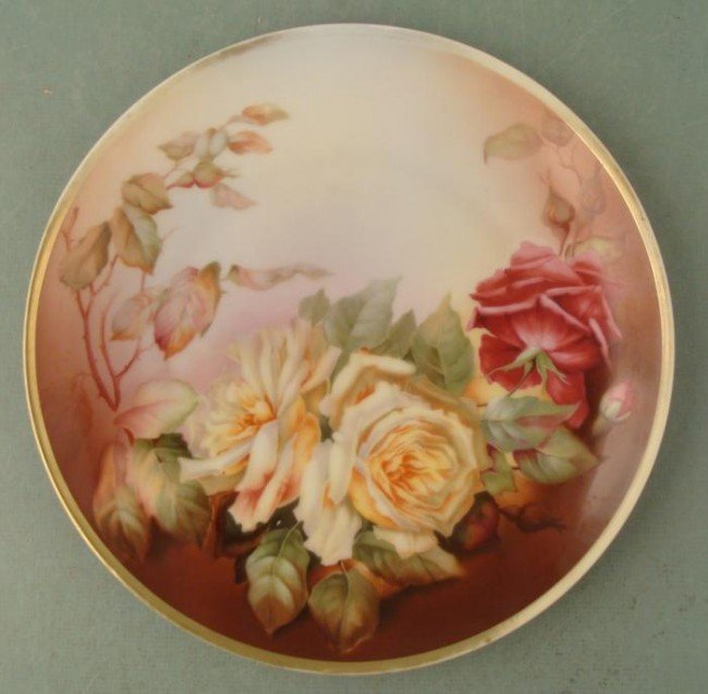 Thomas Bavaria Pallanza Hand Painted Rose 10 In Plate