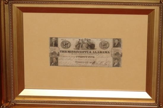 MISSISSIPPI ALABAMA RAILROAD COMPANY NOTE FRAMED GOLD G