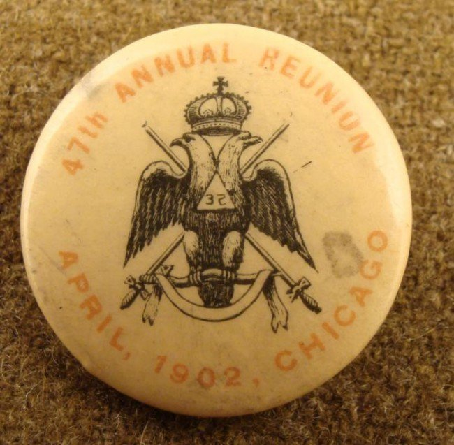 1902 original CELLULOID MASONIC PIN/BUTTON-32ND DEGREE-