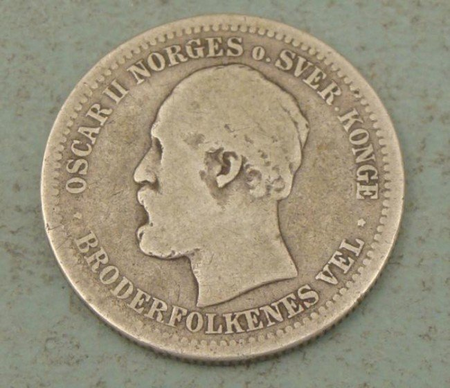 Norway Rare 1877 One Krone Coin