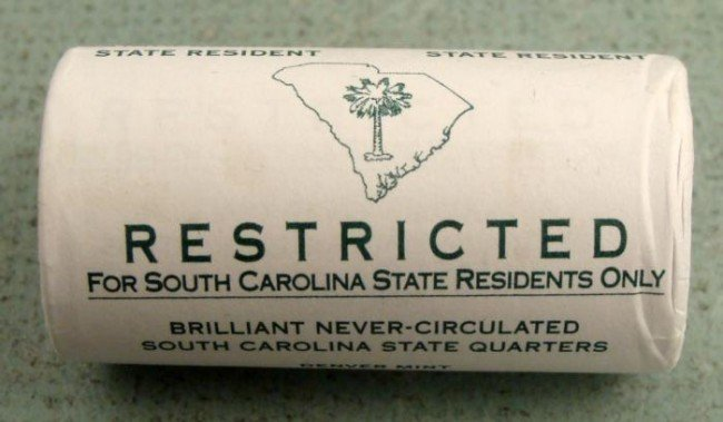 2000-D Restricted South Carolina Coin Quarter Roll