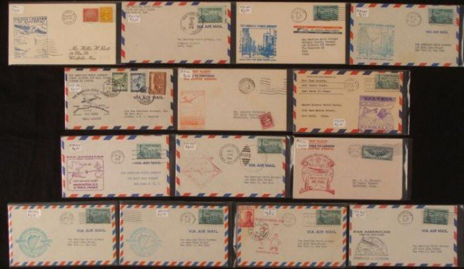 14 Pan Am First Flight Air Mail Covers - Europe 1939-60
