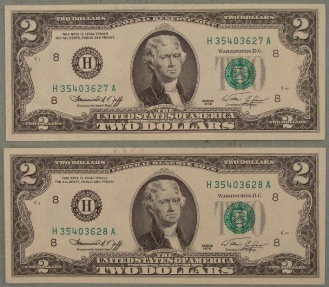 2 Sequential 1976 H Mint CU $2 Bills Notes St. Louis