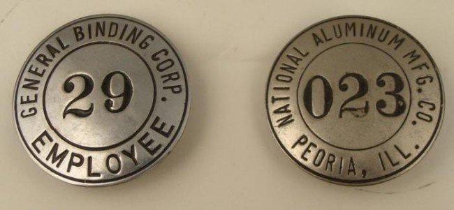2 Old Employee Badges General Binding, Natl Aluminum