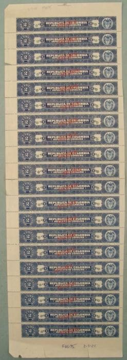 20 Colombia Plate Block Specimen Tax Stamps 2 Centavos