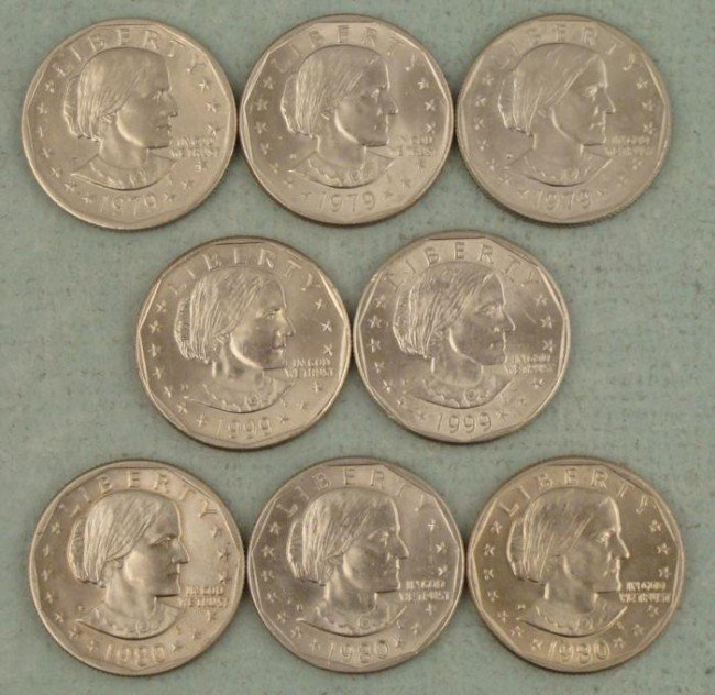 8 Diff Date/ Mint Susan B Anthony Dollars 1979, 80, 99