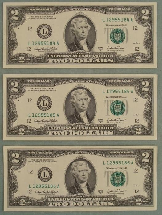 3 Consec # CU 2003 A $2 Bills Notes L Mint Bills Notes