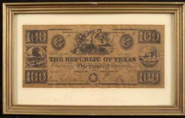 1839 $100 Republic of Texas Bank Note Bill