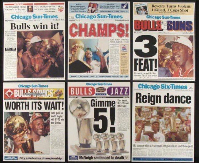 6 Chicago Bulls Championship Newspaper Cover Reprints