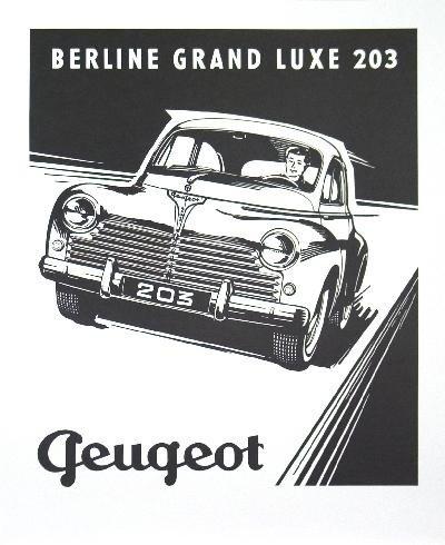 Peugeot-203 Berline Lithograph