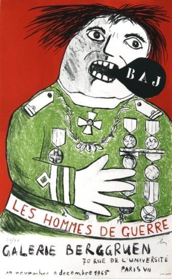 Signed 1965 Baj Les Hommes De Guerre Mourlot Litho