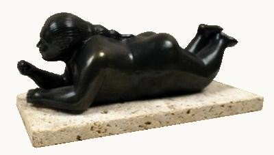 Botero Woman with Fruit Sculpture