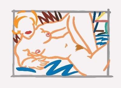 Signed 1999 Wesselmann Judy On Blue Blanket Print