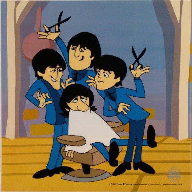 Beatles Cartoon Ltd Ed Sericel Animation Cel Barbershop