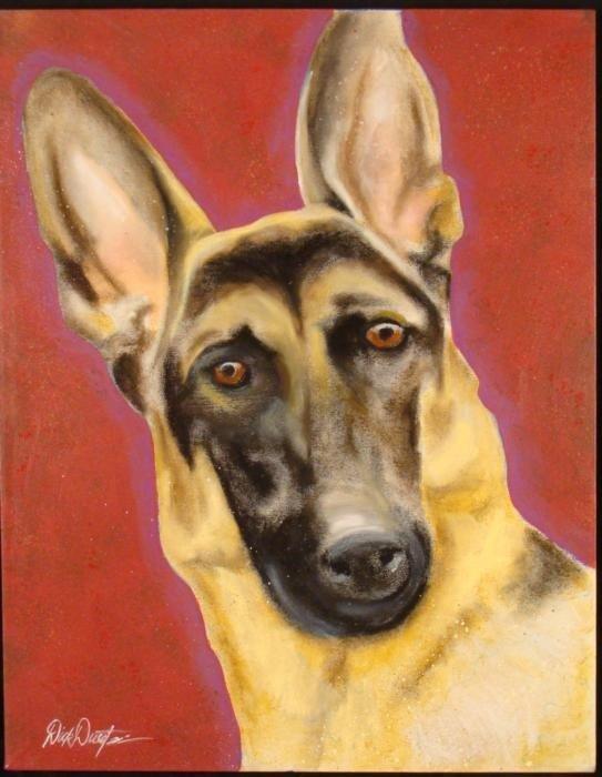 Duerrstein Original Dog Painting German Shepherd Canvas