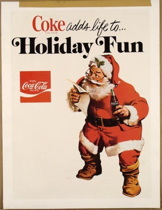 Coke Vintage Original Santa Christmas Poster 1976