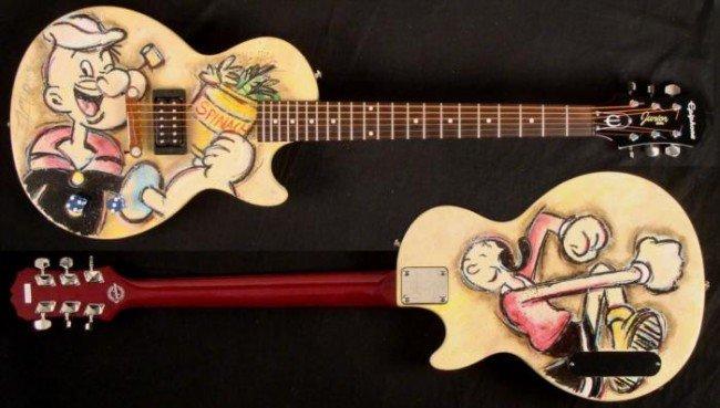 Duerrstein Original Painted Popeye Cartoon Art Guitar
