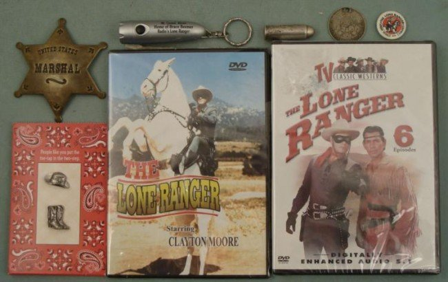 8 Lone Ranger Items Badge Bullet Lucky Piece DVD Pin